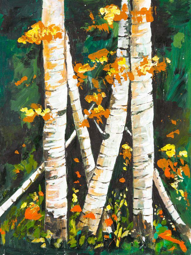 #buyartforless CANVAS Birch Trees II Painting Art Gallery Wrap by Elizabeth Stacke #ArtDeco