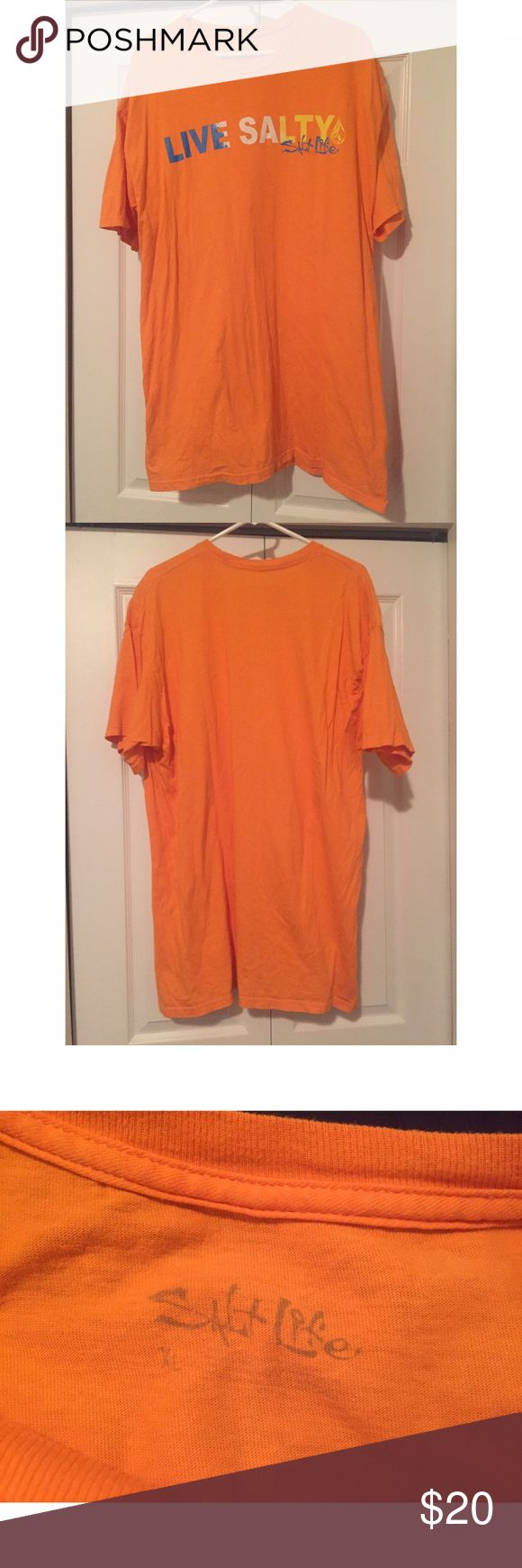 """Salt Life """"Live Salty"""" Graphic Orange Tee This tee is super stylish. Great to throw on with shorts or jeans. Sz XL. Perfect condition salt life Shirts Tees - Short Sleeve"""