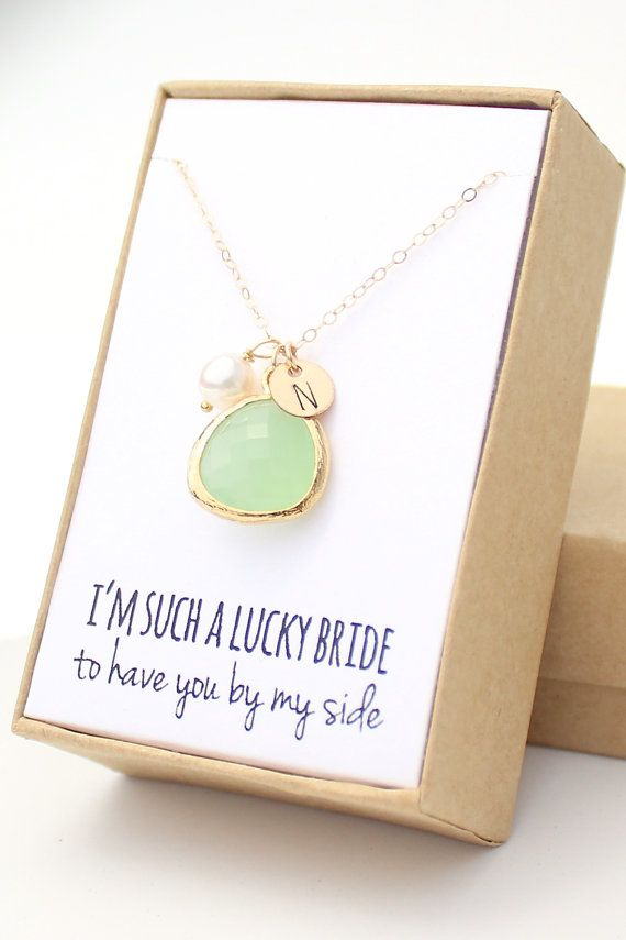 Light Mint Green / Gold Bezel Charm Necklace