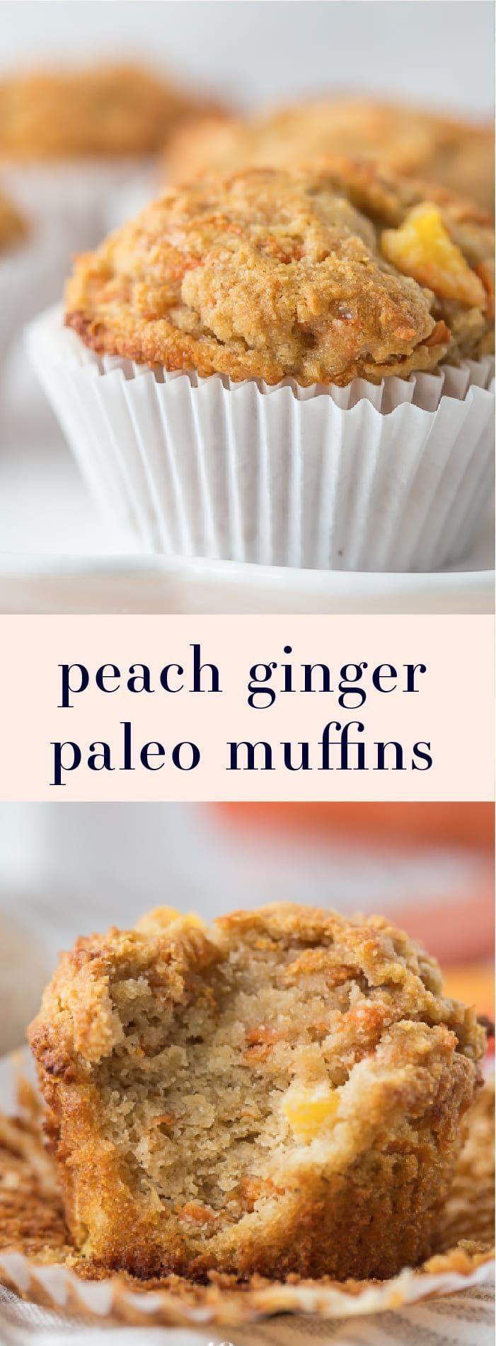 peach ginger paleo muffins are moist and tender, full of fruity, fresh ...