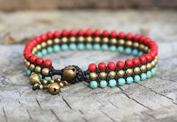 Macrame coral, turquoise and brass anklet.