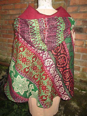 Damen Poncho Pullover Kaputze Cardigan Überwurf bunt Goa Hippie Festival ethno