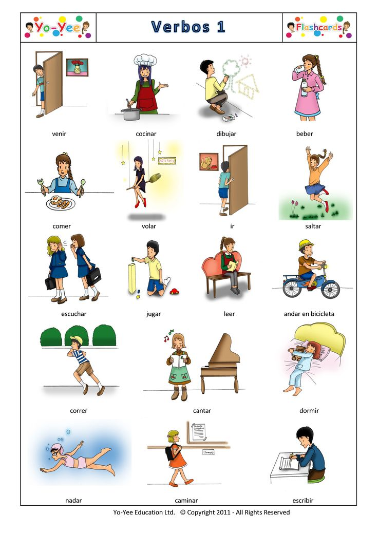 Yo-Yee Verbos 1 Flashcards . Find high quality Flashcards at www.yo-yee.com in multiple languages.