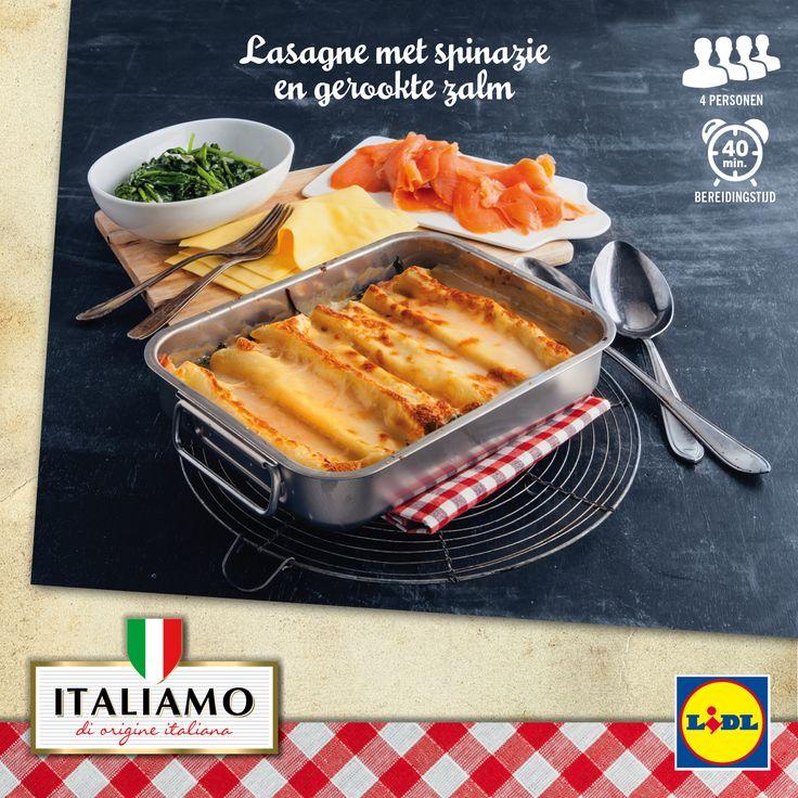 Recept voor heerlijke Italiaanse lasagne met spinazie en gerookte zalm #Lidl #Italiamo
