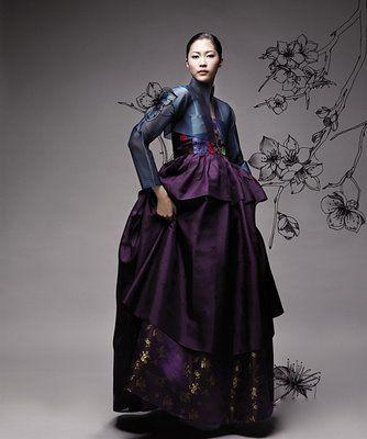 modern hanbok. Aubergine and midnight blue.  Gorgeous!