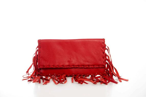 Red Fringe Leather Clutch  Leather Purse  Boho by EleannaKatsira, €105.00