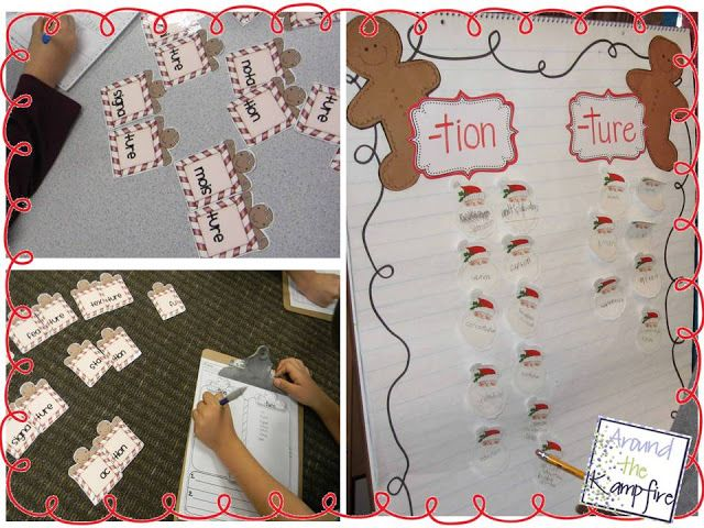 Holiday literacy center fun with -tion & -ture!