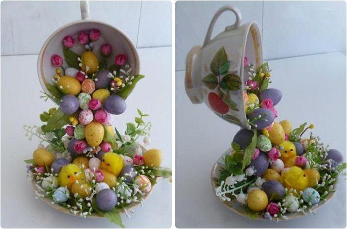 Fincanda Dökülen Yapma Çiçekler ~ Evimden Mutfağımdan Tarifler