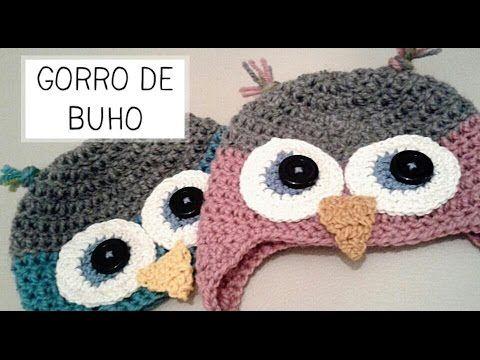 GORRO DE BÚHO A CROCHET PASO A PASO CON VÍDEO TUTORIAL | Patrones Crochet, Manualidades y Reciclado