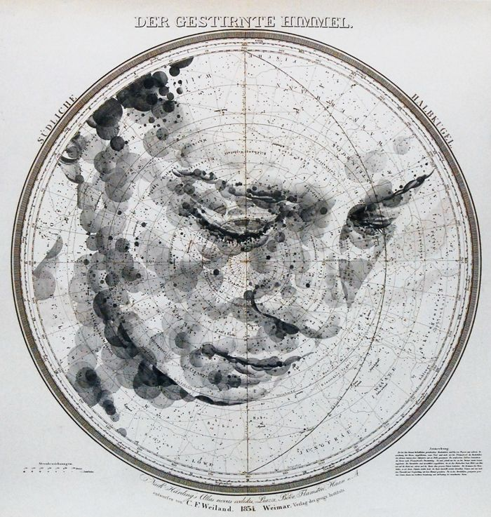 """""""Der Gestirnte Himmel/The Starry Heavens"""" by Ed Fairburn, who draws ink and graphite portraits on vintage maps and celestial star charts."""