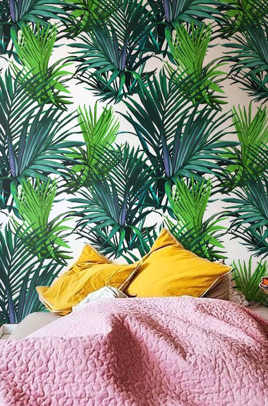 30% OFF from Tropical wallpaper, Palm leaves wall decor, Leaf wallpaper, Temporary wallpaper, BW013