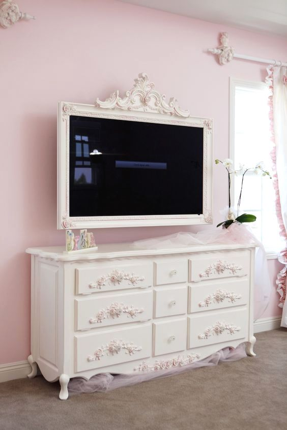 Love picture frames around flat screens The Best of shabby chic in 2017.