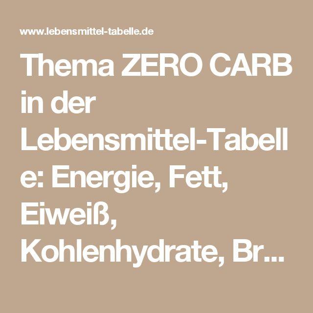 Thema ZERO CARB in der Lebensmittel-Tabelle: Energie, Fett, Eiweiß, Kohlenhydrate, Broteinheiten (BE)*, Energiedichte, Nährstoffdichte