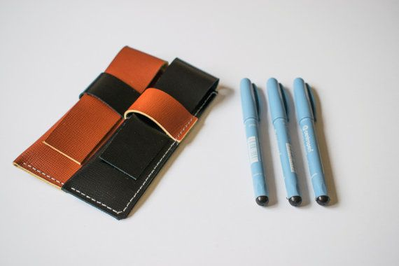 Two leather pen cases // handmade pencil pouches set // by Tradde