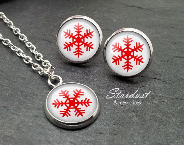 Schmuckset silber ❅ Schneeflocke III grau❅ von Stardust Accessoires auf DaWanda.com