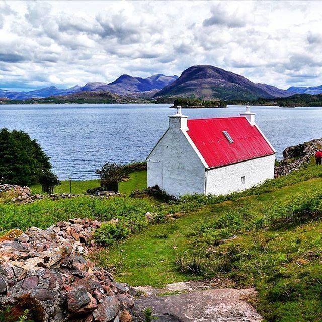 Loch Shieldaig and the Red Roof Cottage, Scotland.