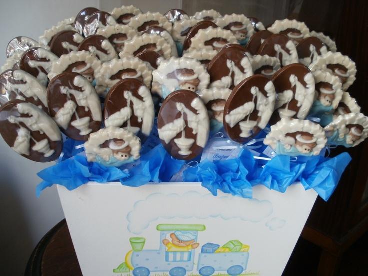 Chocolates para bautismo en Chaco.  angeles  y pilas bautismales