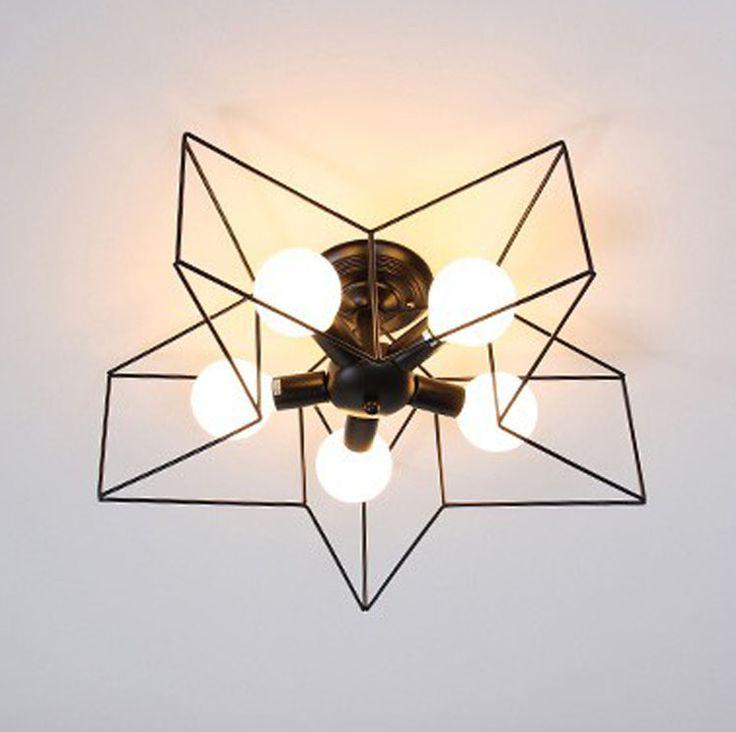 Siyah 5 Işıklar Mini Modern Star Tavan Lambası Metal Yarı Sıva altı Avize Işık Fikstürü Çocuklar için Yatak Koridor Beyaz /