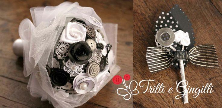 Bouquet nero, bianco e grigio con bottoniera coordinata - www.trilliegingilli.com - info@trilliegingilli.com - Bouquet alternativi, originali, particolari by Trilli e Gingilli