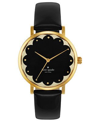 kate spade new york Watch, Women's Metro Black Leather Strap 34mm 1YRU0227 - Kate Spade - Jewelry & Watches - Macy's