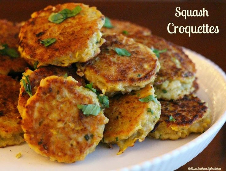 Squash Croquettes - Squash croquettes are an old country favorite. I love them, and typically make them most often when squash is in abundance but, why wait? We are so fortunate to have access to fresh produce year-round and these golden crispy cakes are a fantastic way to get veggies into the kids.