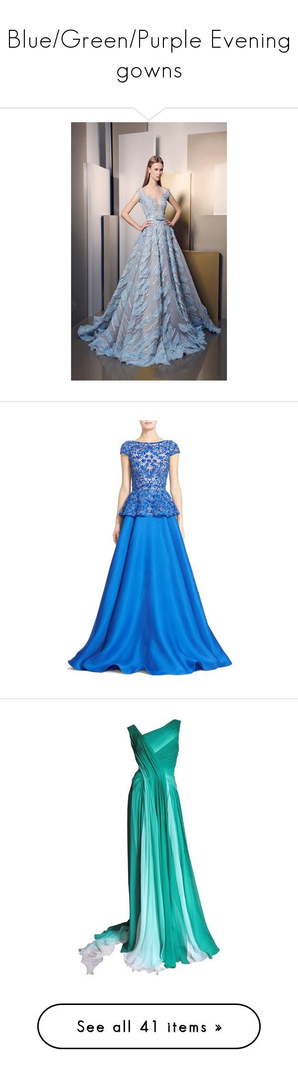"""Blue/Green/Purple Evening gowns"" by princesscarolina on Polyvore featuring dresses, gowns, royal blue, cap sleeve evening gown, blue evening dresses, evening cocktail dresses, royal blue gown, royal blue evening dress, long dresses e vestidos"