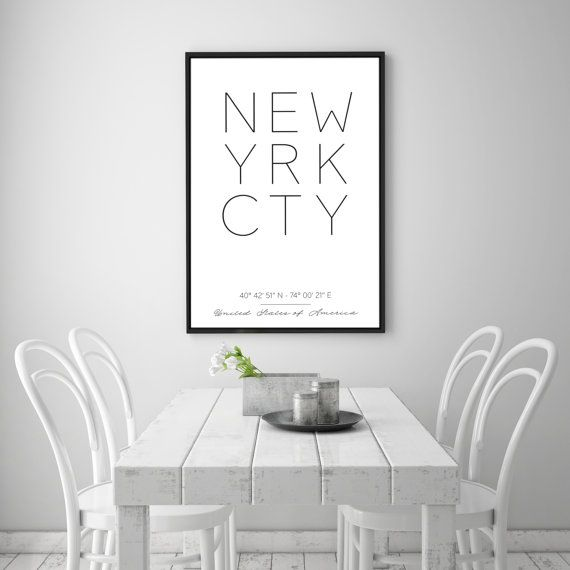 ## Printable New York Poster, NYC Print, New York Coordinates Print, Minimal City Scandinavian Poster, Modern City Coordinates Print ##  You are searching for the perfect decoration touch to any home or office ? This Printable Art is a modern downloadable print featuring New York City and its coordinates.