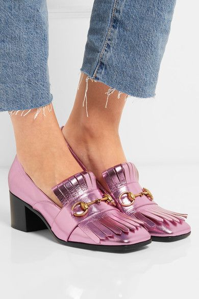 Gucci - Horsebit-detailed Fringed Metallic Leather Pumps - Pink - IT40.5