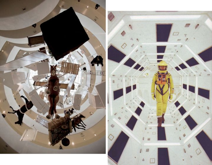 Maurizio Cattelan: All, Guggenheim Museum, 2011/Stanley Kubrick,2001: A Space Odyssey.    I couldn't help but see the parallels. It appears theGuggenheim Museumlikes the analogy.