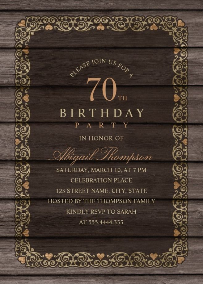 Fancy Wood 70th Birthday Invitations Rustic Country Invitation Templates Creative Elegant Party