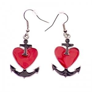 Sailor's heart and anchor earrings