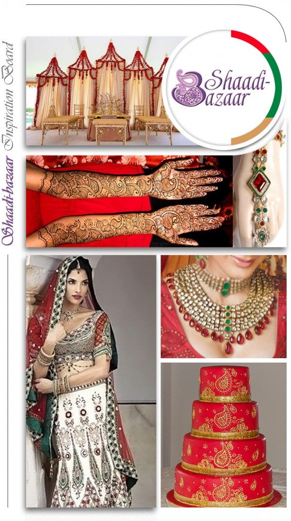 Red, Green, and Gold Traditional Indian Wedding Inspiration Board wedding hair, Indian wedding #shaadibazaar #wedding