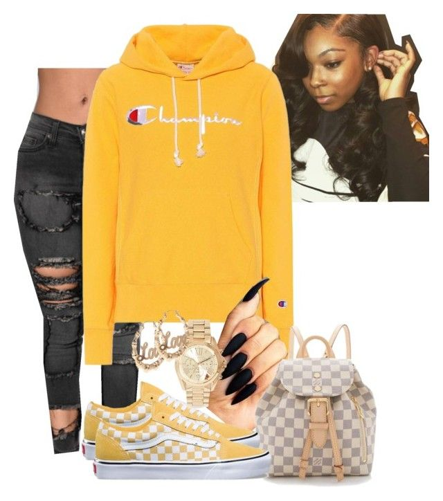 """"""""""" by kashharmonii ❤ liked on Polyvore featuring Champion, Louis Vuitton, Vans and Michael Kors"""