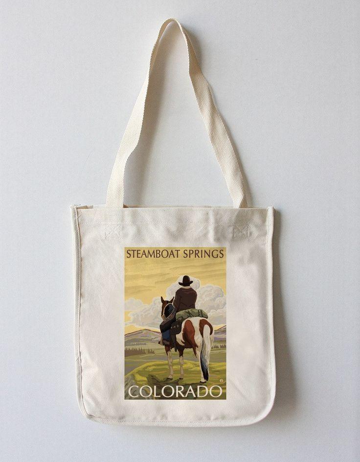 Tote Bag (Steamboat Springs, Colorado - Cowboy on Horseback - Lantern Press Artwork)