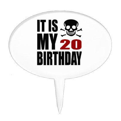 #It Is My 20 Birthday Designs Cake Topper - #giftidea #gift #present #idea #number #twenty #twentieth #bday #birthday #20thbirthday #party #anniversary #20th