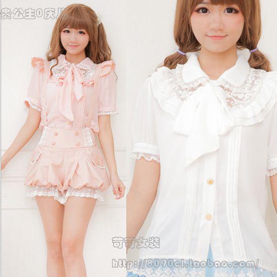 Meng Mei Mei Japanese soft coat cute girls harsh harsh summer institute wind lace flounced chiffon short sleeve shirt