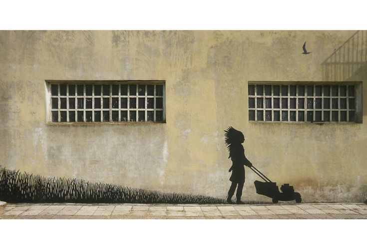 Street artist Pejac makes a silent, yet loud, statement about the effects of globalization on indigenous cultures with this work, although his repertoire travels well beyond those borders.