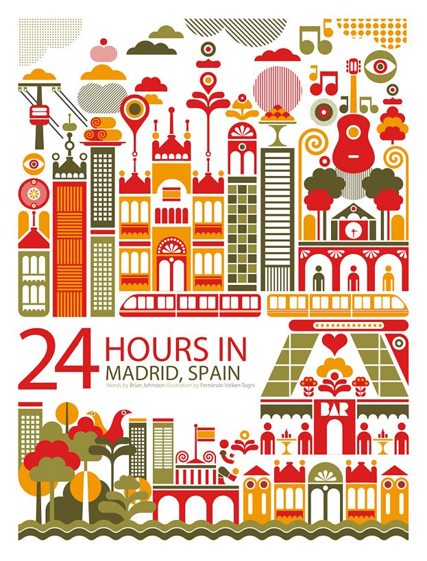 {24 Hours in...} LOVE this Art!! Several different cities/countries~ particularly love the design & colors in this Madrid one. I want to go to Spain. <3