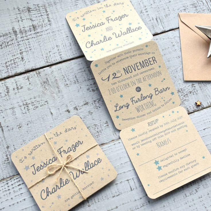 Star Tri Folded Recycled Wedding Invitation