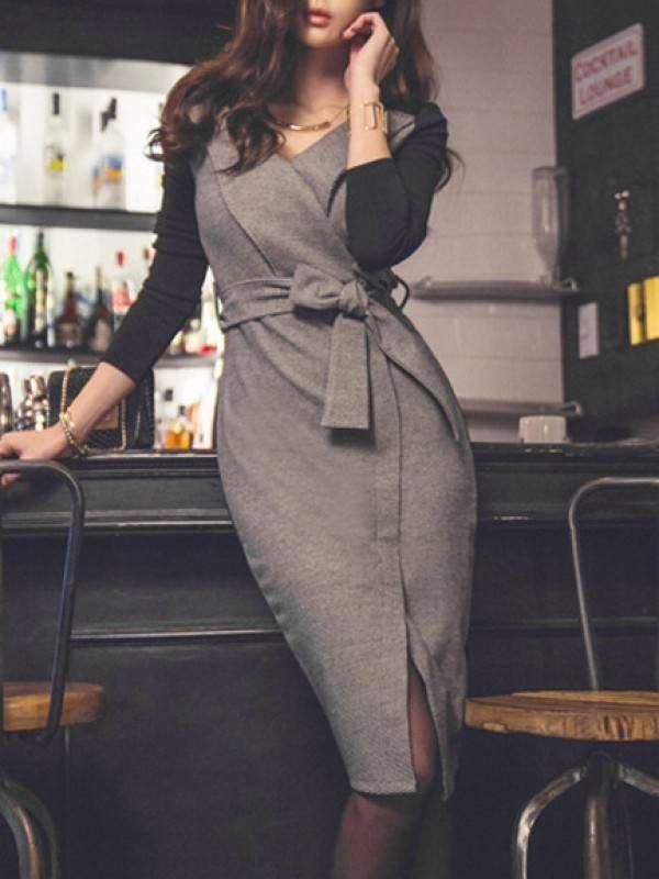 秋冬 新作 スリム 着痩せ Vネック 長袖 スリット 切り替え 配色 セクシーワンピース - レディースファッション激安通販 20代·30代·40代ファッション