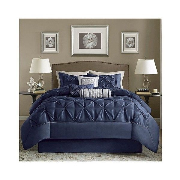 piedmont 7 piece comforter set navy 106 liked on polyvore featuring home