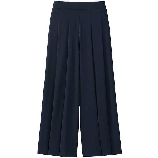 UNIQLO Flare Wide Pants (33 AUD) ❤ liked on Polyvore featuring pants, wide-leg pants, elastic waist pants, flare trousers, loose fitting pants and fitted pants