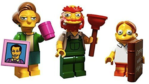 Edna Krabappel, Groundskeeper Willie, Martin Prince: Lego Simpsons Collectible Minifigures Series 2 Custom Bundle 71009