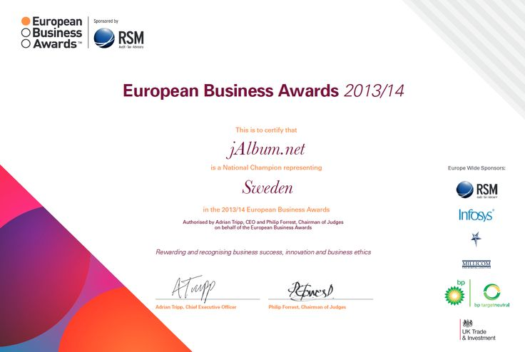 Certificate - jAlbum National Champion representing Sweden in the European Business Awards