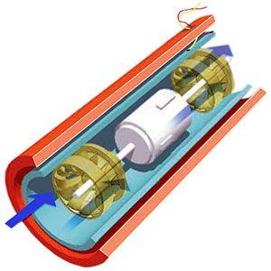 Equipo que permite generar electricidad en las conducciones de agua, formado por un carrete de acero embridado, (con una o dos turbinas axiales) y un generador asíncrono trifásico en su interior, que giran al paso del agua transformando su fuerza en energía mecánica y ésta en energía eléctrica.
