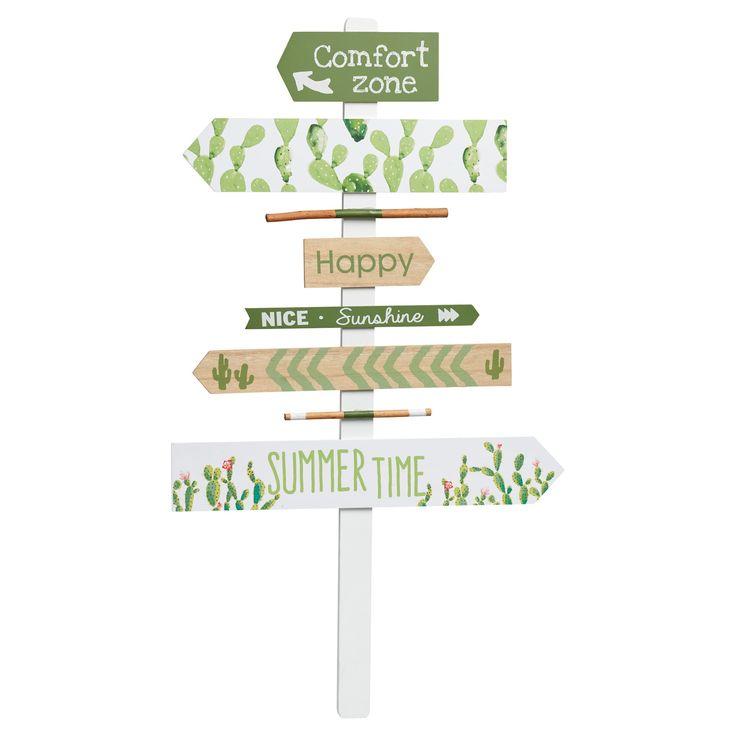 Wandbord met cactusprint. Kleur: groen. Materiaal: hout. Afmeting: 75x43 cm (hxb). #tuin #tuindecoratie #KwantumLente