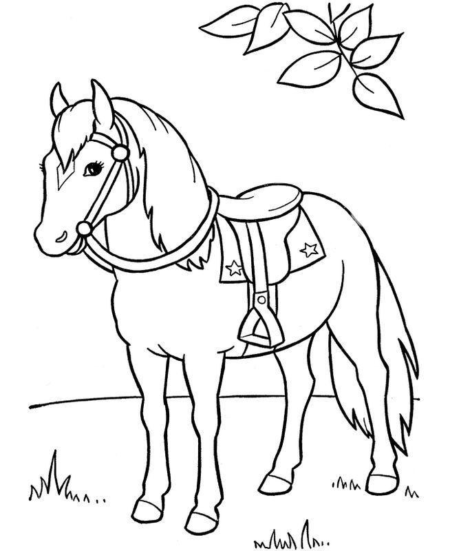 Coloriage de cheval dessin avec une selle sous un arbre 224 coloriage de cheval coloriage cheval - Dessin anime avec des poneys ...