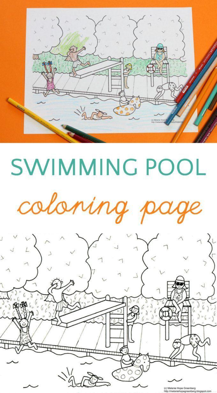 Swimming Pool Coloring Page Halaman Mewarnai Kolam Renang