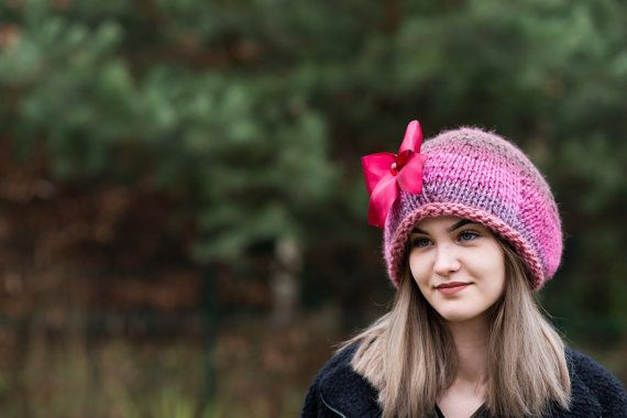 Colorful beanie  Wool slouchy hat Knit by Isabellwoolstudio