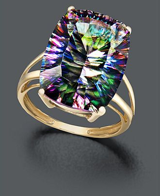 14k Gold Ring, Large Mystic Topaz